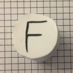 Finished letter F polymer clay alphabet cane