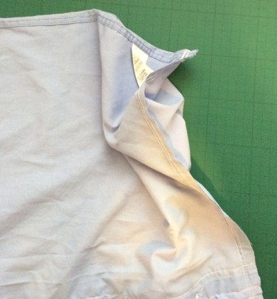 turn an old shirt into a shopping bag - turn shirt 90 degrees