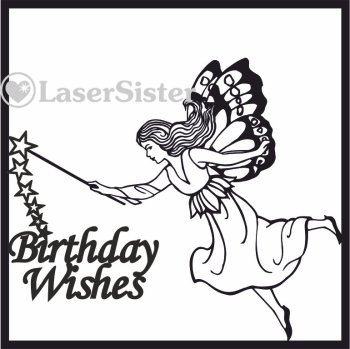 laser cut birthday wishes fairy card