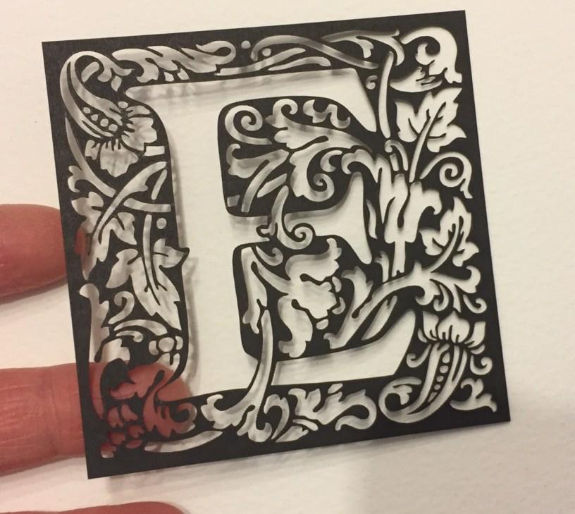 william morris style alphabet for laser cutting - letter E