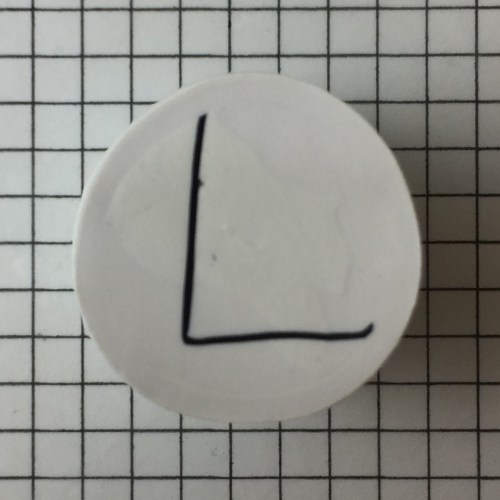 polymer clay cane letter L step 9 - finished cane