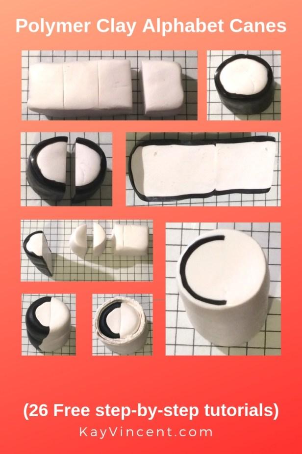 Letter C polymer clay alphabet cane tutorial 20190306