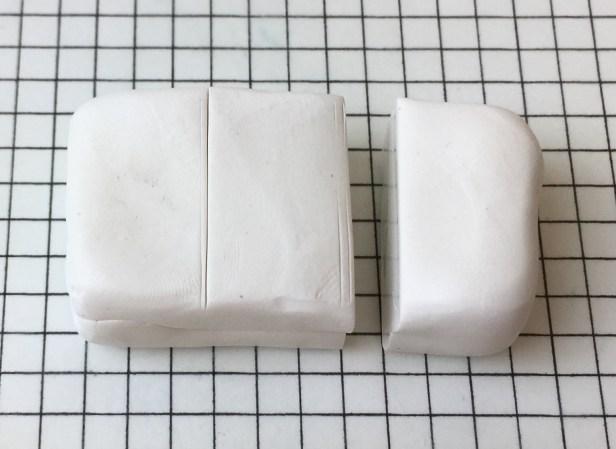 Letter U polymer clay alphabet cane tutorial - cut off a third