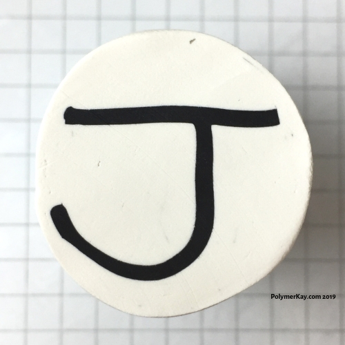 Letter J polymer clay alphabet cane tutorial - KayVincent