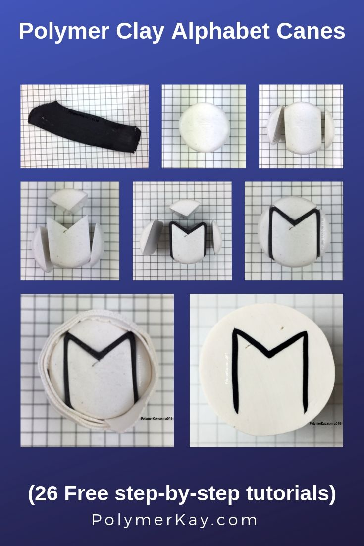 Letter M polymer clay alphabet cane tutorial graphic - KayVincent