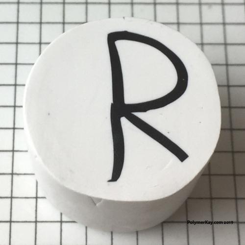 Letter R polymer clay alphabet cane tutorial - KayVincent
