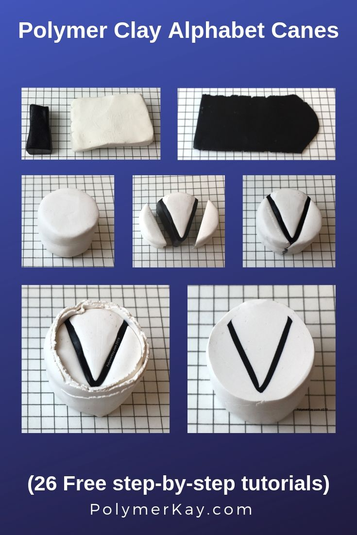 Letter V polymer clay alphabet cane tutorial graphic - KayVincent