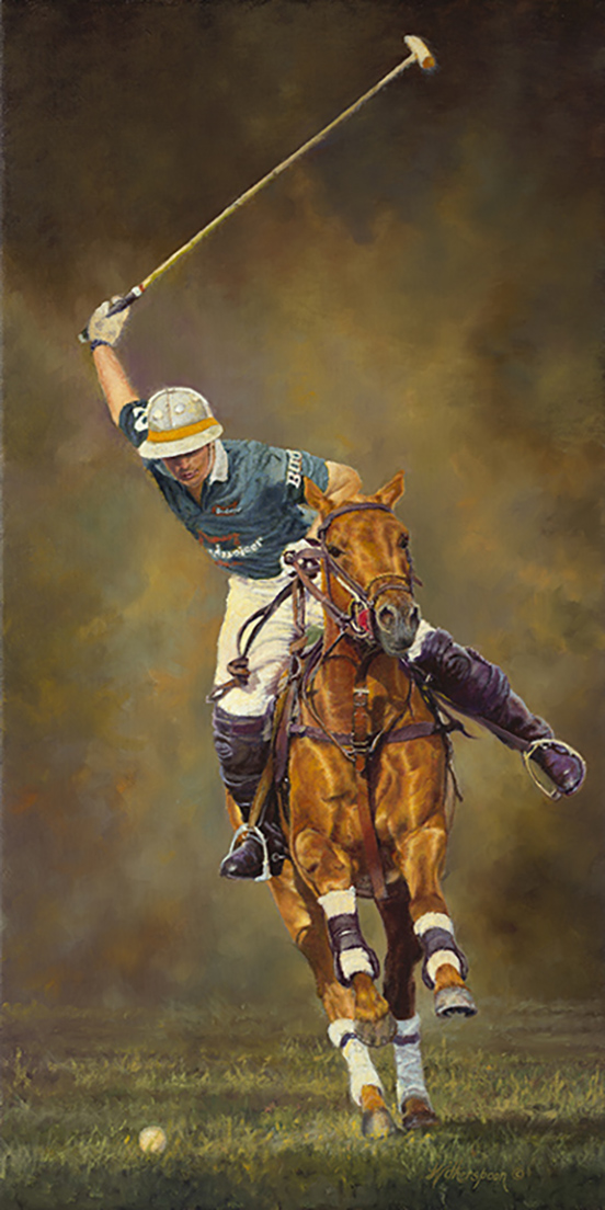 """Crescendo""© Kay Witherspoon, 24"" x 12"" oil on linen polo painting - Available"