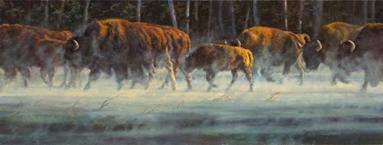 """""""Determination"""" © Kay Witherspoon, 12"""" x 22"""", oil on linen (SOLD)  Presented the Award of Excellence - Society of Animal, canvas giclée prints available"""