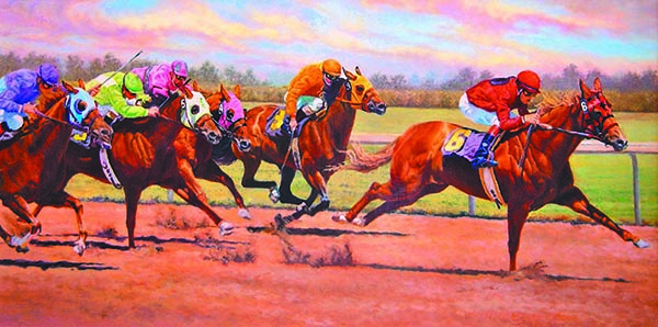 """""""Wind Storm"""" © Kay Witherspoon, 12"""" x 24"""", oil on canvas (SOLD), signature painting at the AAEA & Keenland Race Track Exhibition, canvas giclée prints available"""