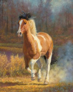 """""""Spooked"""", pinto horse art by © K Witherspoon"""