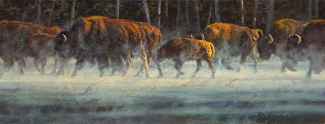 """Determination"" © Kay Witherspoon, 12"" x 22"", oil on linen (SOLD)  Presented the Award of Excellence - Society of Animal, canvas giclée prints available"