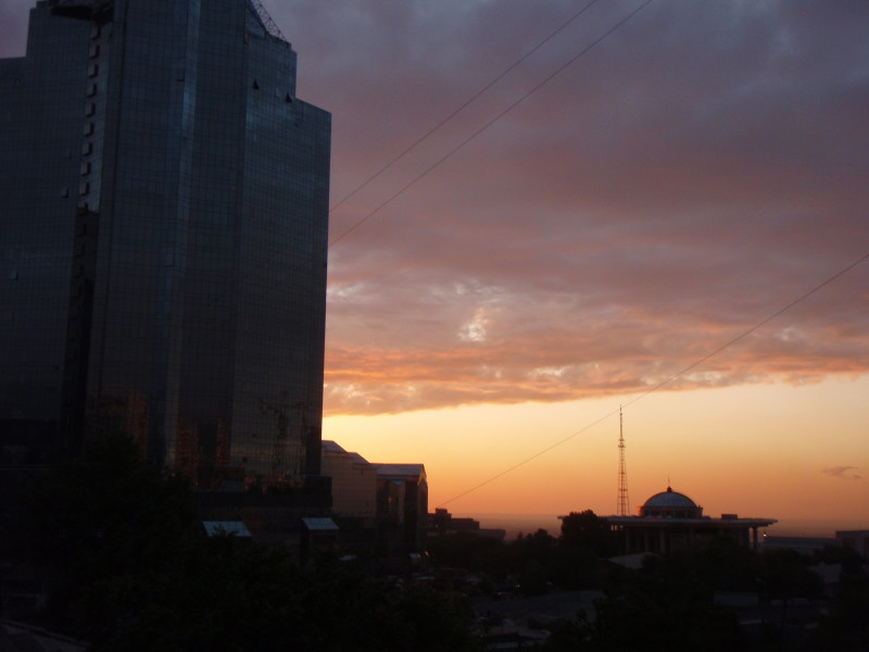 sunset in Almaty