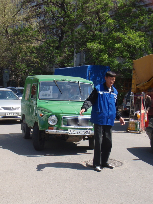 green car and attendant