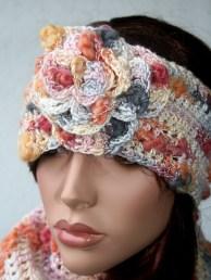 Bandeau à fleur au crochet en laine et bambou, couleurs dégradées - Création Kazamarie