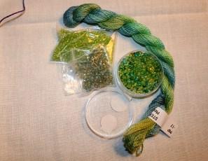 Accessoires pour parure vert/turquoise - Création Kazamarie