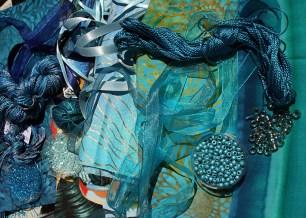 Tissus, fils, rubans, perles aqua turquoise