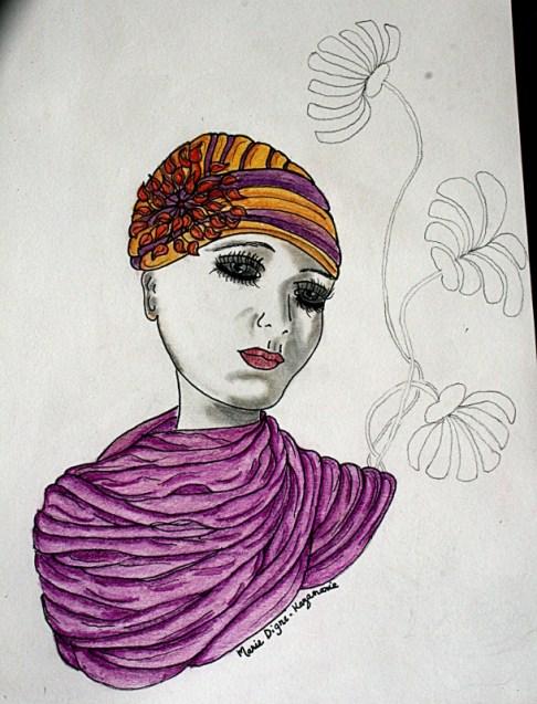 Femme au turban #1 en cours de réalisation - Marie Digne-Kazamarie