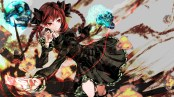 Konachan.com - 184771 bow braids dress kaenbyou_rin long_hair magic pointed_ears red_eyes red_hair skull touhou yutapon