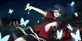 Konachan.com - 185670 blue_eyes blue_hair butterfly chimuchimu_(drowandpaint) flowers grass hat miyako_yoshika night ofuda short_hair skirt touhou