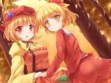 Konachan.com - 189263 2girls aki_minoriko aki_shizuha ass blonde_hair hat lzh red_eyes ribbons short_hair touhou tree yellow_eyes