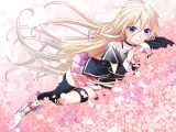Konachan.com - 182687 blonde_hair blue_eyes cherry_blossoms ia junji long_hair petals vocaloid