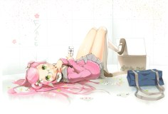 Konachan.com - 183059 anmi glasses long_hair original pink_hair scan skirt thighhighs