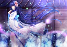 Konachan.com - 186758 bow fan flowers japanese_clothes kimono long_hair original purple_hair toshi yellow_eyes