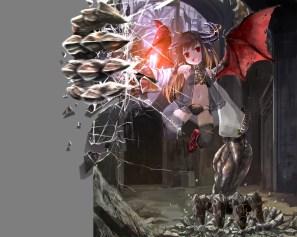 Konachan.com - 190136 demon horns kouji_(astral_reverie) loli original red_eyes see_through thighhighs wings