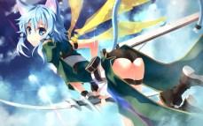 Konachan.com - 190679 animal_ears ass blue_eyes blue_hair boots bow_(weapon) catgirl clouds jpeg_artifacts shinon_(sao) short_hair shorts tail weapon wings yuuki_tatsuya