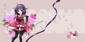 Konachan.com - 191108 black_hair bow_(weapon) flowers kantai_collection lolita_fashion mitha pantyhose ryuuhou_(kancolle) weapon