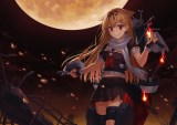 Konachan.com - 191360 blonde_hair boat bow fire gloves kantai_collection long_hair moon night npcpepper red_eyes ribbons scarf seifuku skirt torn_clothes