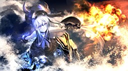 Konachan.com - 191699 collar destroyer_hime gloves gun kantai_collection kouji_(astral_reverie) long_hair purple_eyes water weapon white_hair