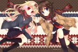 Konachan.com - 192483 2girls black_hair blonde_hair blue_eyes earmuffs kantai_collection kneehighs long_hair red_eyes scarf seifuku skirt suzushiro_kurumi