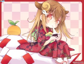 Konachan.com - 194000 animal_ears brown_hair chibi cube food horns japanese_clothes kimono koi_suru_kanojo_no_bukiyou_na_butai long_hair mitaonsya togawa_mayuu