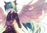Konachan.com - 188833 akabane_(pixiv3586989) aqua_hair blush hatsune_miku long_hair skirt twintails vocaloid wings