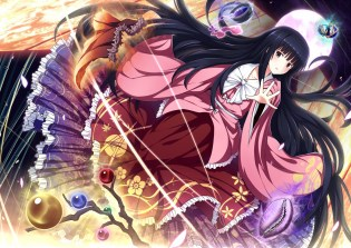 Konachan.com - 193293 black_hair bow brown_eyes dress houraisan_kaguya japanese_clothes long_hair moon touhou ugume