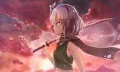 Konachan.com - 194048 blue_eyes clouds gray_hair headband katana konpaku_youmu myon navel raira scarf short_hair sunset sword touhou weapon