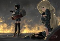 Konachan.com - 196429 2girls blonde_hair breasts fire garter_belt gloves hat long_hair signed tachibana_roku takao_(kancolle) thighhighs torn_clothes uniform water