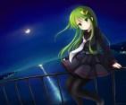 Konachan.com - 196930 blush building green_eyes green_hair kantai_collection long_hair moon nagatsuki_(kancolle) night pantyhose seifuku skirt tie water yuyumi_(yuurei)