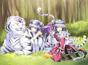 Konachan.com - 198006 2girls animal blue_hair braids catgirl forest grass haku_(p&d) hat m_musume orange_eyes purple_eyes puzzle_&_dragons tail thighhighs tree wristwear