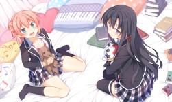 Konachan.com - 198069 2girls animal bed black_hair blue_eyes book dog kneehighs pink_hair racer_%28magnet%29 seifuku skirt thighhighs yuigahama_yui yukinoshita_yukino