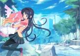 Konachan.com - 198119 2girls akemi_homura building clouds gloves headband hug kaname_madoka long_hair pantyhose park pink_hair scenic skirt tree ultimate_madoka water
