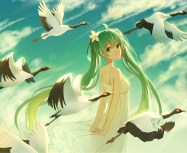 Konachan.com - 204281 animal bird clouds green_eyes green_hair hatsune_miku lan_jue long_hair sky summer_dress twintails vocaloid