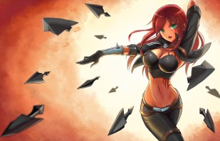 Konachan.com - 201793 armor breasts chanseven cleavage gloves green_eyes katarina league_of_legends navel red_hair skintight weapon
