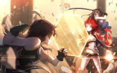 Konachan.com - 205104 bai_yemeng black_hair gloves long_hair original red_eyes red_hair sword thighhighs weapon