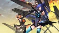 Konachan.com - 205205 kazanari_tsubasa long_hair mechagirl ponytail scarf swd3e2 sword tachibana_hibiki thighhighs weapon yukine_chris