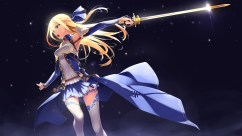 Konachan.com - 206154 blonde_hair green_eyes long_hair murakami_suigun original sword thighhighs weapon