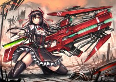 Konachan.com - 207415 black_hair breasts cleavage dress garter_belt gia gloves gun headband long_hair original red_eyes stockings sword thighhighs weapon