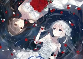 Konachan.com - 216984 2girls blue_eyes brown_eyes brown_hair dress flowers haruna_(kancolle) kantai_collection petals rose tiara water wedding_attire white_hair